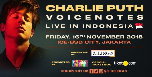 harga tiket Charlie Puth Voicenotes Live In Indonesia 2018