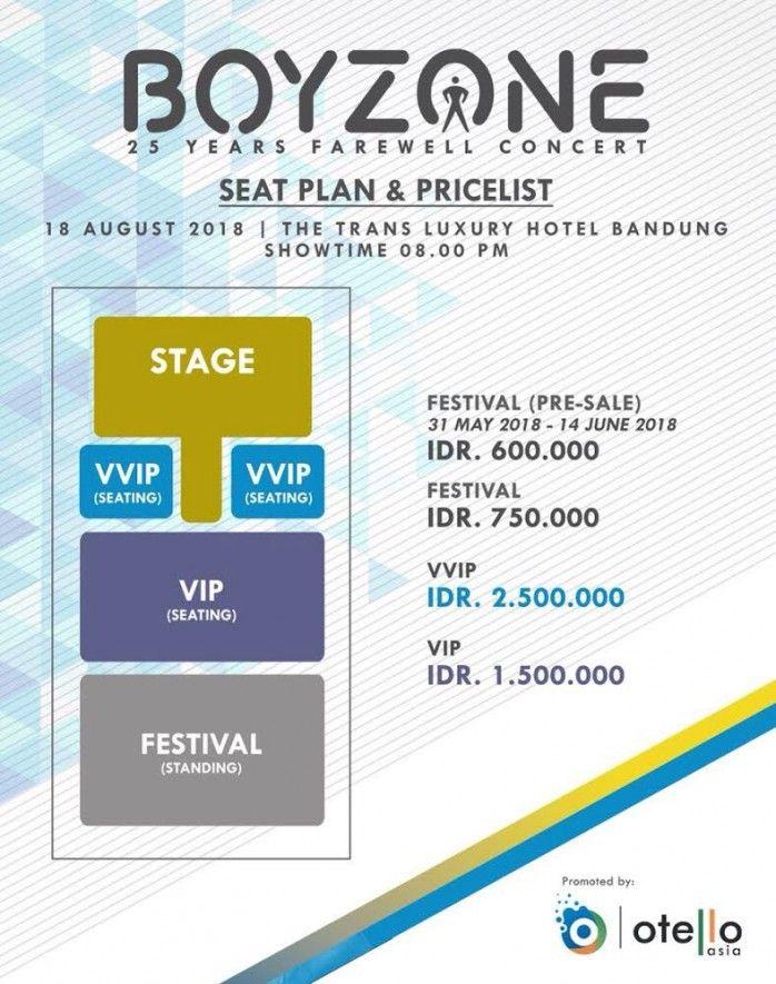 Lokasi Layout Boyzone 25 Years Farewell Concert - Live In Bandung 2018