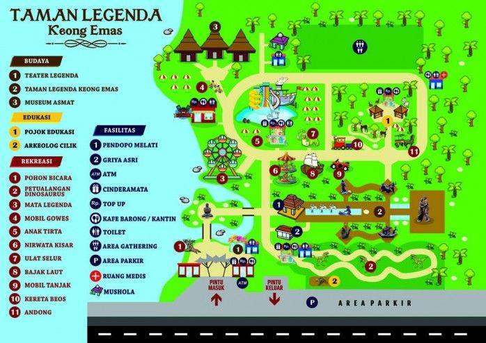 Lokasi Layout Taman Legenda Keong Emas TMII Jakarta