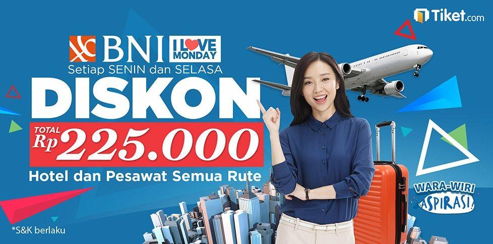 Diskon Tiket Pesawat & Hotel Hingga 225 ribu Dengan BNI
