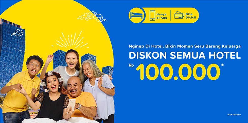 Diskon semua hotel Rp 100.000 di Tiket.com