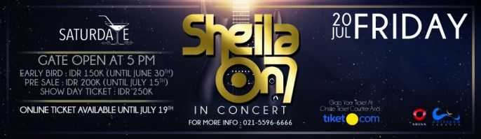 harga tiket Saturdate Sheila On7 In Concert 2018